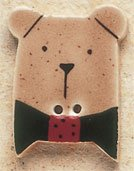 43002 - Brown Teddy Bear with Red Bow - 7/8in x 1in
